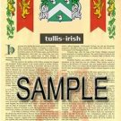 TULLIS - IRISH - Armorial Name History - Coat of Arms - Family Crest GIFT! 8.5x11