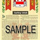 TURLEY - IRISH - Armorial Name History - Coat of Arms - Family Crest GIFT! 8.5x11