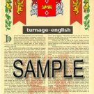 TURNAGE - ENGLISH - Armorial Name History - Coat of Arms - Family Crest GIFT! 8.5x11