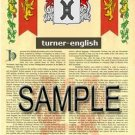 TURNER - ENGLISH - Armorial Name History - Coat of Arms - Family Crest GIFT! 8.5x11