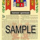 TURNER - GERMAN - Armorial Name History - Coat of Arms - Family Crest GIFT! 8.5x11