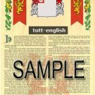 TUTT - ENGLISH - Armorial Name History - Coat of Arms - Family Crest GIFT! 8.5x11