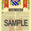 TWIGG - ENGLISH - Armorial Name History - Coat of Arms - Family Crest GIFT! 8.5x11