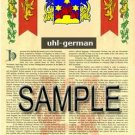 UHL - GERMAN - Armorial Name History - Coat of Arms - Family Crest GIFT! 8.5x11