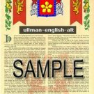 ULLMAN - ENGLISHALT - Armorial Name History - Coat of Arms - Family Crest GIFT! 8.5x11