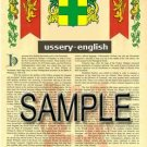 USSERY - ENGLISH - Armorial Name History - Coat of Arms - Family Crest GIFT! 8.5x11