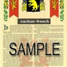 VACHON - FRENCH - Armorial Name History - Coat of Arms - Family Crest GIFT! 8.5x11