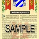 VALDEZ - SPANISH - Armorial Name History - Coat of Arms - Family Crest GIFT! 8.5x11