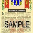 VALDIVIA - SPANISH - Armorial Name History - Coat of Arms - Family Crest GIFT! 8.5x11