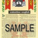 VALENTINE - ENGLISH - Armorial Name History - Coat of Arms - Family Crest GIFT! 8.5x11