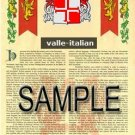 VALLE - ITALIAN - Armorial Name History - Coat of Arms - Family Crest GIFT! 8.5x11