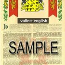 VALLEE - ENGLISH - Armorial Name History - Coat of Arms - Family Crest GIFT! 8.5x11