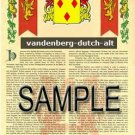 VANDENBERG - DUTCHALT - Armorial Name History - Coat of Arms - Family Crest GIFT! 8.5x11
