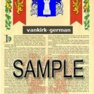 VANKIRK - GERMAN - Armorial Name History - Coat of Arms - Family Crest GIFT! 8.5x11
