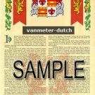 VANMETER - DUTCH - Armorial Name History - Coat of Arms - Family Crest GIFT! 8.5x11