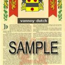 VANNOY - DUTCH - Armorial Name History - Coat of Arms - Family Crest GIFT! 8.5x11
