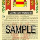 VANTASSEL - BELGIUM - Armorial Name History - Coat of Arms - Family Crest GIFT! 8.5x11