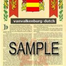 VANVALKENBURG - DUTCH - Armorial Name History - Coat of Arms - Family Crest GIFT! 8.5x11