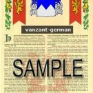 VANZANT - GERMAN - Armorial Name History - Coat of Arms - Family Crest GIFT! 8.5x11