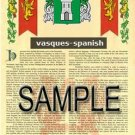 VASQUES - SPANISH - Armorial Name History - Coat of Arms - Family Crest GIFT! 8.5x11
