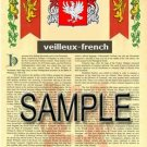 VEILLEUX - FRENCH - Armorial Name History - Coat of Arms - Family Crest GIFT! 8.5x11