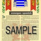 VENEGAS - SPANISH - Armorial Name History - Coat of Arms - Family Crest GIFT! 8.5x11