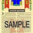 VESTAL - GERMAN - Armorial Name History - Coat of Arms - Family Crest GIFT! 8.5x11
