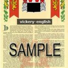 VICKERY - ENGLISH - Armorial Name History - Coat of Arms - Family Crest GIFT! 8.5x11