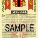 VICTOR - DUTCH - Armorial Name History - Coat of Arms - Family Crest GIFT! 8.5x11