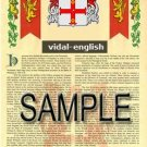 VIDAL - ENGLISH - Armorial Name History - Coat of Arms - Family Crest GIFT! 8.5x11