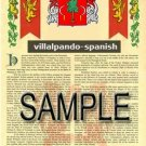 VILLALPANDO - SPANISH - Armorial Name History - Coat of Arms - Family Crest GIFT! 8.5x11