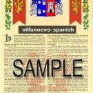 VILLANUEVA - SPANISH - Armorial Name History - Coat of Arms - Family Crest GIFT! 8.5x11