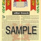 VILLAR - FRENCH - Armorial Name History - Coat of Arms - Family Crest GIFT! 8.5x11