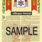 VILLEGAS - FRENCH - Armorial Name History - Coat of Arms - Family Crest GIFT! 8.5x11
