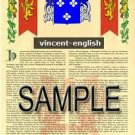 VINCENT - ENGLISH - Armorial Name History - Coat of Arms - Family Crest GIFT! 8.5x11