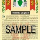 VINING - ENGLISH - Armorial Name History - Coat of Arms - Family Crest GIFT! 8.5x11