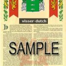 VISSER - DUTCH - Armorial Name History - Coat of Arms - Family Crest GIFT! 8.5x11
