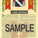 VOGT - GERMAN - Armorial Name History - Coat of Arms - Family Crest GIFT! 8.5x11