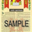 VOLZ - GERMAN - Armorial Name History - Coat of Arms - Family Crest GIFT! 8.5x11