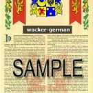 WACKER - GERMAN - Armorial Name History - Coat of Arms - Family Crest GIFT! 8.5x11