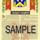 WAGER - ENGLISH - Armorial Name History - Coat of Arms - Family Crest GIFT! 8.5x11