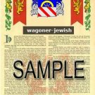 WAGONER - JEWISH - Armorial Name History - Coat of Arms - Family Crest GIFT! 8.5x11