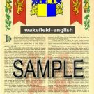 WAKEFIELD - ENGLISH - Armorial Name History - Coat of Arms - Family Crest GIFT! 8.5x11
