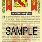 WALDEN - ENGLISH - Armorial Name History - Coat of Arms - Family Crest GIFT! 8.5x11