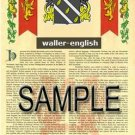 WALLER - ENGLISH - Armorial Name History - Coat of Arms - Family Crest GIFT! 8.5x11