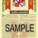 WALLIN - SWEDISH - Armorial Name History - Coat of Arms - Family Crest GIFT! 8.5x11