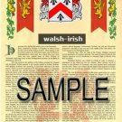 WALSH - IRISH - Armorial Name History - Coat of Arms - Family Crest GIFT! 8.5x11
