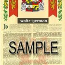 WALTZ - GERMAN - Armorial Name History - Coat of Arms - Family Crest GIFT! 8.5x11