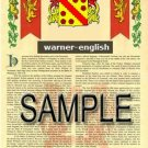 WARNER - ENGLISH - Armorial Name History - Coat of Arms - Family Crest GIFT! 8.5x11