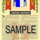 WARNER - GERMAN - Armorial Name History - Coat of Arms - Family Crest GIFT! 8.5x11